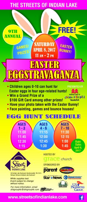 Easter eggstravaganza at the streets of indian lake kids out and 9th annual easter eggstravaganza saturday april 8 2017 11 am2 pm 12 rotating age related egg hunts rain date april 15 negle Gallery